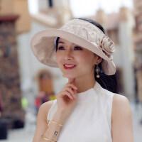 女士遮阳帽防晒遮脸帽子洋气漂亮的百搭可折叠空顶时尚户外运动太阳帽