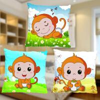 2018新款精准印花3D十字绣抱枕卡通动漫个性可爱猴子枕套汽车线绣