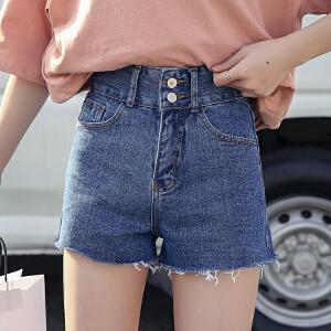 RANJU 然聚2018女装夏季新品新款高腰双纽扣牛仔短裤韩版牛仔热裤时尚女