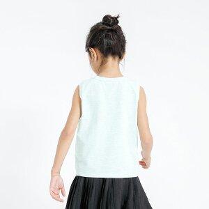 【尾品汇 5折直降】amii2017新款女童T恤简约印花夏季无袖款休闲大童儿童背心