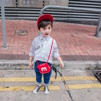 男童衬衫儿童拼接衬衣宝宝条纹长袖撞色纯棉百搭白色小童男宝童装