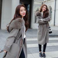 毛呢大衣女冬装新款韩版中长款大毛领呢子大衣收腰呢外套学生