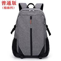 f笔记本包14寸15.6寸17寸17.3英寸电脑包男女双肩背包 灰色普通版(棉麻料) 15.6英寸