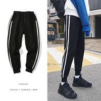港风春季男士加绒加厚小脚裤韩版修身条纹束脚潮流长裤子运动卫裤