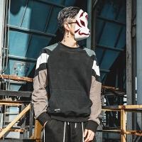 复古拼色圆领套头卫衣男春季日系潮流学院风百搭长袖上衣