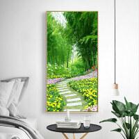 客厅大气玄关画 过道画现代简约风格走廊尽头的壁画北欧挂画艺术画 80*160 35mm黑框 烤瓷水晶面