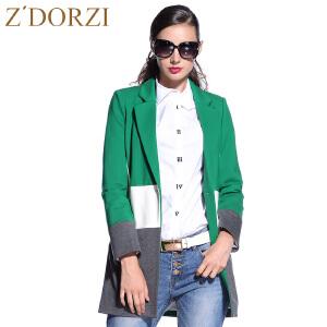 zdorzi卓多姿女装一粒扣撞色中长款西装外套632036