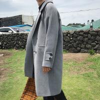 新品韩版呢大衣男长款风衣宽松双排扣呢子外套