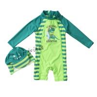 婴幼儿童泳衣裤男宝宝连体泳衣送泳帽恐龙造型0-3岁 绿色 滑板龙