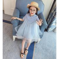 女童连衣裙2春装儿童宝宝格子短袖公主洋气裙子潮