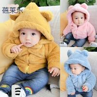女婴儿衣服秋冬装1岁3男宝宝加绒加厚保暖棉衣外套