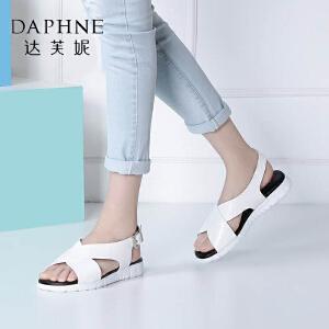 Daphne/达芙妮夏季女鞋时尚休闲纯色一字扣凉鞋平底鞋