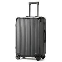 万向轮拉杆箱玫瑰金旅行箱女密码箱硬箱行李箱男20寸24寸28g 时尚拉链款黑色 20寸