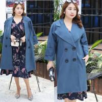 秋冬装新款韩版加肥加大码200斤中长款毛呢大衣西装领女士外套潮