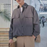2018春季纯色大口袋日系长袖衬衫男生潮流打底衫宽松复古衬衣外套