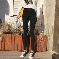 春季女装新款韩版修身弹力一粒扣黑色高腰打底裤女紧身小脚铅笔裤