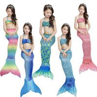 小儿童美人鱼尾巴女宝宝沙滩游泳衣三件套装温泉分体比基尼公主裙