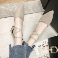 女士凉鞋户外时尚尖头粗跟晚晚鞋百搭配裙子的罗马鞋