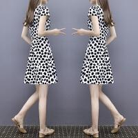 连衣裙女夏2018新款韩版显瘦黑白波点裙短袖气质名媛印花A字裙 黑白波点