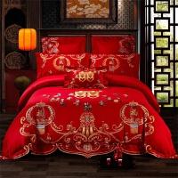 婚庆四件套大红中式结婚床上用品结婚百子婚房床品六七件套 YN百子迎福(绣花G)