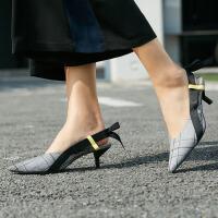 【券后预估价:184元】Amii极简蝴蝶结淑女鞋浅口尖头单鞋女中跟夏季新款细跟休闲鞋