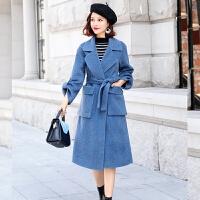 阿尔巴卡2017新款羊驼绒双面羊绒大衣女羊毛呢大衣