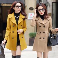 中长款毛呢外套女2018秋冬装新款韩版收腰小个子大衣冬天妮子衣服