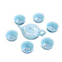 青瓷鱼杯茶具7件套