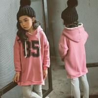 冬季童装新款女童宽松卫衣公主套头连帽绒衫中大童棉加绒加厚外套