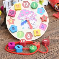 木制儿童智力形状配对婴幼儿积木数字时钟2-3岁宝宝益智早教玩具