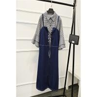 韩版胖人服饰大码女装加肥加大码秋冬裙子两件套连衣裙YK9049 图片色