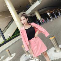 韩版半身裙时尚牛仔女装 秋装 外套装显瘦学院风修身高腰宽松气质 粉红色