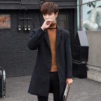 毛呢大衣男中长款韩版修身潮流帅气秋冬羊毛呢子风衣青年妮子外套 黑色8633 M