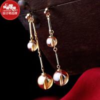 凤凰涅磐原创设计耳环女 简约百搭长款金双珠镀真金耳坠首饰品