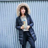 【618大促-每满100减50】高梵2017新款貉子毛领中长款羽绒服女 方形翻边口袋H型修身外套潮