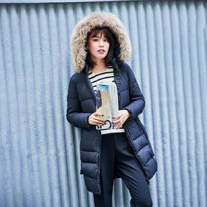 高梵2017新款貉子毛领中长款羽绒服女 方形翻边口袋H型修身外套潮