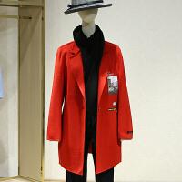 双面呢大衣女冬装新款 韩版中长款一粒扣印花呢子外套