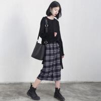 2018秋冬季新款高腰卫衣套装女小香风上衣加裙子两件套秋装两件套 黑色套装