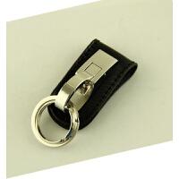 百诚双环双扣钥匙扣 男士汽车腰挂式 创意穿皮带腰带礼品盒装 单扣 黑皮银