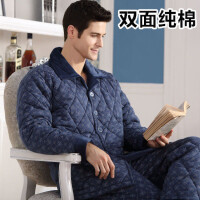 20180323120915604冬季加厚保暖三层男士中老年纯棉长袖夹棉睡衣全棉家居服男休闲套装