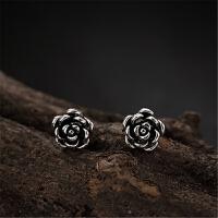 手工S925纯银复古泰银玫瑰花耳钉简约个性时尚百搭女士耳饰