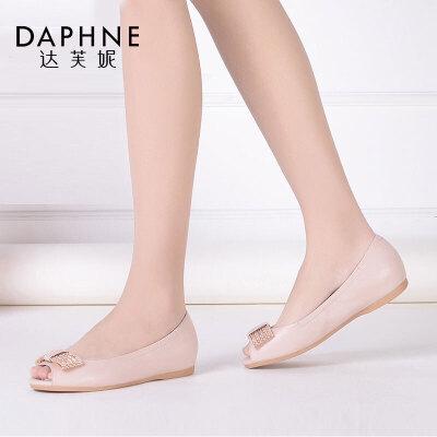 Daphne/达芙妮春新款 羊皮水钻平底浅口鱼嘴单鞋女1016102019
