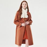 活动到手价780丨红袖/HOPESHOW双排扣开叉翻领双面呢羊毛大衣