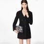 【3件2折 到手价149】LILY女装JK制服风黑色收腰修身大翻领双排扣风衣连衣裙