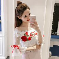 夏季新款修身一字领性感刺绣花朵百搭上衣短袖喇叭袖系带蕾丝衫女