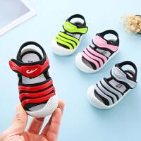 宝宝凉鞋女0-1-3岁2男童毛毛虫幼儿学步软底防滑夏季婴儿凉鞋