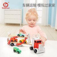 【50元无门槛券】特宝儿木制拆装组装工程车儿童宝宝动手益智拼装玩具男孩3-6岁早教儿童玩具