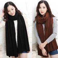 韩版纯色针织毛线围巾女士冬天围巾披肩两用秋冬加长加厚男女通用