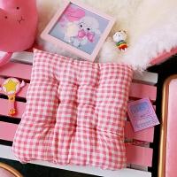 韩国小清新少女粉格子坐垫创意学生寝室靠垫办公室椅子垫加厚软垫J 粉红色 单个 38*38