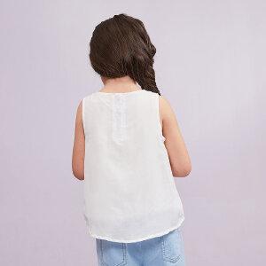【尾品汇 5折直降】amii童装2017夏季新款女童圆领背心中大童套头休闲夏装无袖上衣